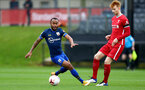 LIVERPOOL, ENGLAND - NOVEMBER 21: Tyreke Johnson (L) of Southampton and Sepp Van Den Berg (R) of Liverpool during the Premier League 2 match between Liverpool and Southampton FC B Team at the Liverpool Academy on November 21, 2020 in Liverpool , England. (Photo by Isabelle Field/Southampton FC via Getty Images) (Photo by Isabelle Field/Isabelle Field)