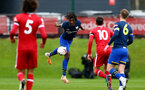 LIVERPOOL, ENGLAND - NOVEMBER 21: Allan Tchaptchet of Southampton headers the ball  during the Premier League 2 match between Liverpool and Southampton FC B Team at the Liverpool Academy on November 21, 2020 in Liverpool , England. (Photo by Isabelle Field/Southampton FC via Getty Images) (Photo by Isabelle Field/Isabelle Field)