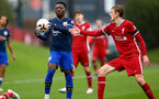 LIVERPOOL, ENGLAND - NOVEMBER 21: Kazeem Olaigbe(L) of Southampton and Conor Bradley(R) of Liverpool during the Premier League 2 match between Liverpool and Southampton FC B Team at the Liverpool Academy on November 21, 2020 in Liverpool , England. (Photo by Isabelle Field/Southampton FC via Getty Images) (Photo by Isabelle Field/Isabelle Field)