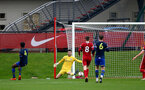 LIVERPOOL, ENGLAND - NOVEMBER 21: Kingsley Latham of Southampton makes a save during the Premier League 2 match between Liverpool and Southampton FC B Team at the Liverpool Academy on November 21, 2020 in Liverpool , England. (Photo by Isabelle Field/Southampton FC via Getty Images) (Photo by Isabelle Field/Isabelle Field)