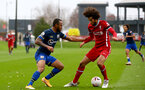 LIVERPOOL, ENGLAND - NOVEMBER 21: Tyreke Johnson(L) of Southampton and Remi Savage (R) of Liverpool during the Premier League 2 match between Liverpool and Southampton FC B Team at the Liverpool Academy on November 21, 2020 in Liverpool , England. (Photo by Isabelle Field/Southampton FC via Getty Images) (Photo by Isabelle Field/Isabelle Field)