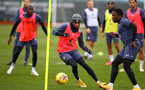 SOUTHAMPTON, ENGLAND - NOVEMBER 26: Kyle Walker-Peters(L) and Michael Obafemi during a Southampton FC training session at the Staplewood Campus on November 26, 2020 in Southampton, England. (Photo by Matt Watson/Southampton FC via Getty Images)