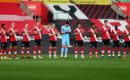 SOUTHAMPTON, ENGLAND - NOVEMBER 29: Southampton players took part in a minutes applause in memory of Diego Maradona ahead of the Premier League match between Southampton and Manchester United at St Mary's Stadium on November 29, 2020 in Southampton, England. Sporting stadiums around the UK remain under strict restrictions due to the Coronavirus Pandemic as Government social distancing laws prohibit fans inside venues resulting in games being played behind closed doors. (Photo by Matt Watson/Southampton FC via Getty Images)