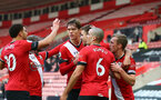 SOUTHAMPTON, ENGLAND - NOVEMBER 29: Jan Bednarek of Southampton celebrates his goal with team mates during the Premier League match between Southampton and Manchester United at St Mary's Stadium on November 29, 2020 in Southampton, England. Sporting stadiums around the UK remain under strict restrictions due to the Coronavirus Pandemic as Government social distancing laws prohibit fans inside venues resulting in games being played behind closed doors. (Photo by Matt Watson/Southampton FC via Getty Images)