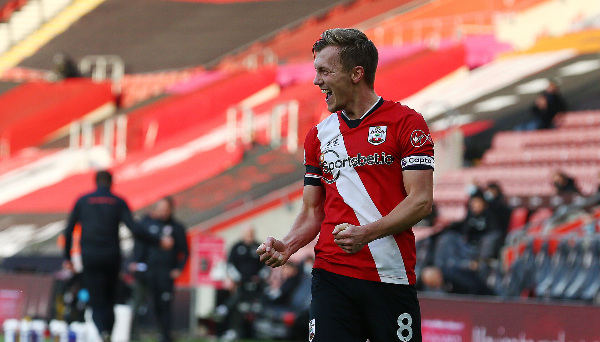 SOUTHAMPTON, ENGLAND - NOVEMBER 29: James Ward-Prowse of Southampton celebrates after making it 2-0 during the Premier League match between Southampton and Manchester United at St Mary's Stadium on November 29, 2020 in Southampton, England. Sporting stadiums around the UK remain under strict restrictions due to the Coronavirus Pandemic as Government social distancing laws prohibit fans inside venues resulting in games being played behind closed doors. (Photo by Matt Watson/Southampton FC via Getty Images)