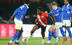 SOUTHAMPTON, ENGLAND - NOVEMBER 30: Michael Obafemi (L) of Southampton and Max Sanders (R) of Brighton & Hove Albion during the Premier League 2 match between Southampton FC B Team and Brighton & Hove Albion at the St Mary's Stadium on November 30, 2020 in Southampton, England. (Photo by Isabelle Field/Southampton FC via Getty Images)