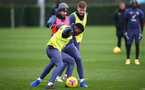 SOUTHAMPTON, ENGLAND - DECEMBER 03: Kyle Walker-Peters(L), Shane Long(centre) and Stuart Armstrong(R) during a Southampton FC training session at the Staplewood Campus on December 03, 2020 in Southampton, England. (Photo by Matt Watson/Southampton FC via Getty Images)