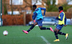 SOUTHAMPTON, ENGLAND - DECEMBER 03 : Kazeem Olaigbe(L)  and Zuriel Otseh-Taiwot during Southampton U18s training session at Staplewood Complex on December 03, 2020 in Southampton, England. (Photo by Isabelle Field/Southampton FC via Getty Images)
