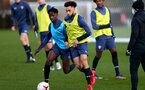 SOUTHAMPTON, ENGLAND - DECEMBER 03 : Kgaogelo Chauke(L) and Jayden Smith(R) during Southampton U18s training session at Staplewood Complex on December 03, 2020 in Southampton, England. (Photo by Isabelle Field/Southampton FC via Getty Images)