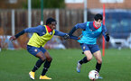 SOUTHAMPTON, ENGLAND - DECEMBER 03 : Zuriel Otseh-Taiwot (L) and Marco Rus(R) during Southampton U18s training session at Staplewood Complex on December 03, 2020 in Southampton, England. (Photo by Isabelle Field/Southampton FC via Getty Images)