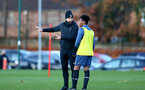 SOUTHAMPTON, ENGLAND - DECEMBER 03 : Louis Carey (L) and Fedel Ross-Lang during Southampton U18s training session at Staplewood Complex on December 03, 2020 in Southampton, England. (Photo by Isabelle Field/Southampton FC via Getty Images)