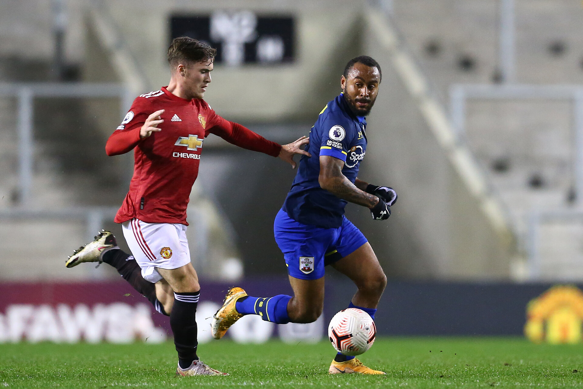 MANCHESTER, ENGLAND - DECEMBER 04: during the Premier League 2 match between Manchester United and Southampton B Team at Leigh Sports Village on December 04, 2020 in Manchester, England. (Photo by Isabelle Field/Southampton FC via Getty Images)