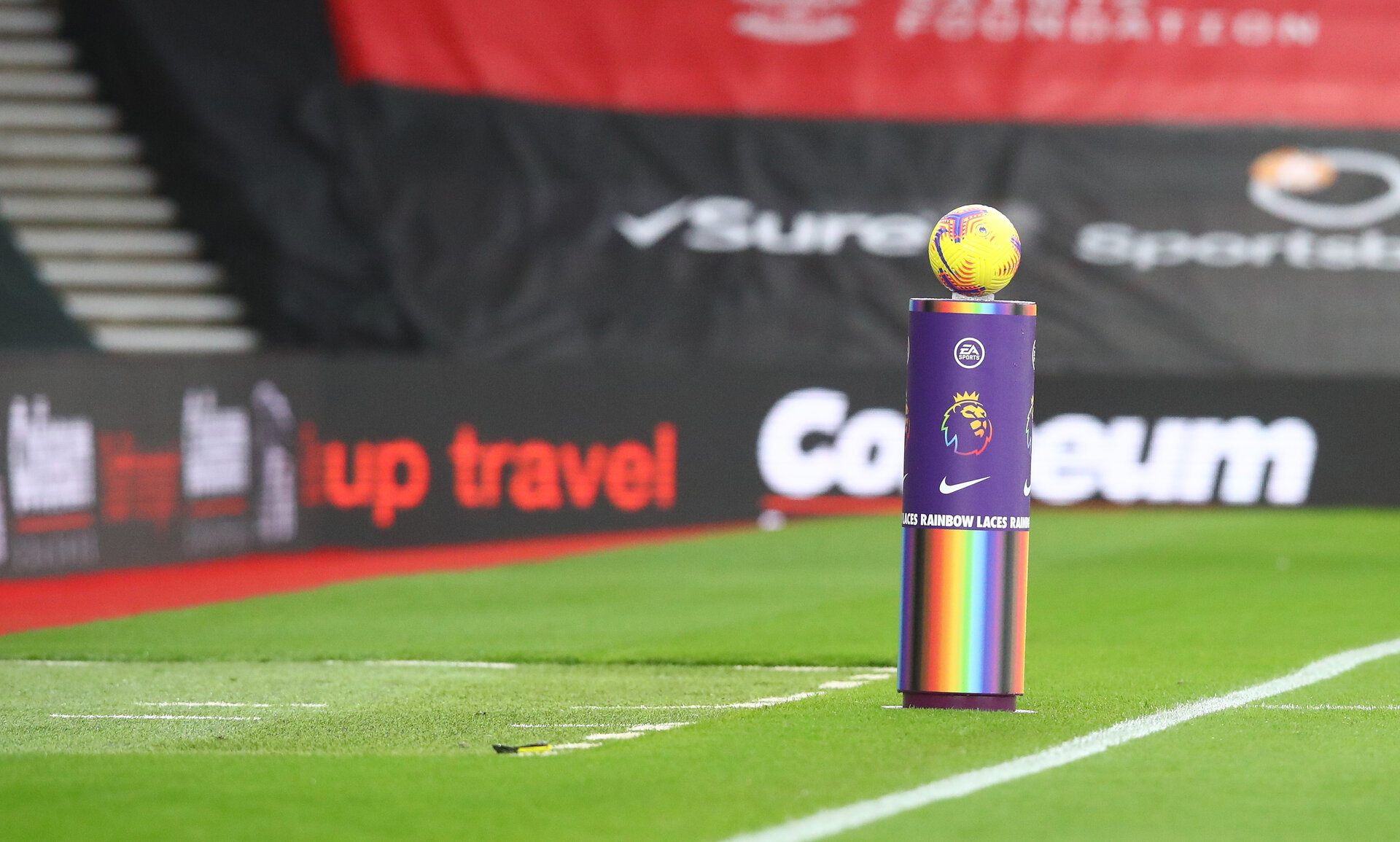 SOUTHAMPTON, ENGLAND - DECEMBER 13: A rainbow laces plynth during the Premier League match between Southampton and Sheffield United at St Mary's Stadium on December 13, 2020 in Southampton, England. A limited number of spectators (2000) are welcomed back to stadiums to watch elite football across England. This was following easing of restrictions on spectators in tiers one and two areas only. (Photo by Matt Watson/Southampton FC via Getty Images)