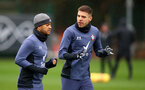 SOUTHAMPTON, ENGLAND - DECEMBER 28: Ryan Bertrand(L) and Jan Bednarek during a Southampton FC training session at the Staplewood Campus on December 28, 2020 in Southampton, England. (Photo by Matt Watson/Southampton FC via Getty Images)