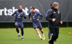 SOUTHAMPTON, ENGLAND - DECEMBER 28: Theo Walcott(L) and Danny Ings during a Southampton FC training session at the Staplewood Campus on December 28, 2020 in Southampton, England. (Photo by Matt Watson/Southampton FC via Getty Images)