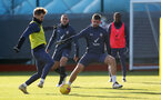 SOUTHAMPTON, ENGLAND - JANUARY 02: Stuart Armstrong(L) and Jack Stephens during a Southampton FC training session at the Staplewood Campus on January 02, 2021 in Southampton, England. (Photo by Matt Watson/Southampton FC via Getty Images)