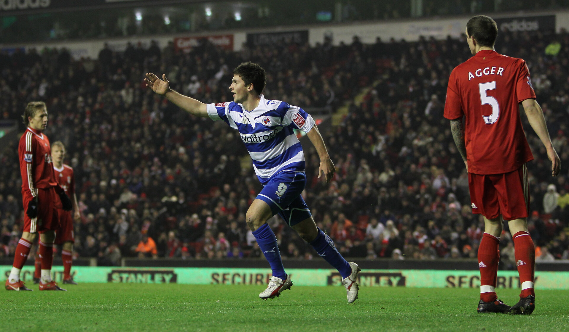 LIVERPOOL, ENGLAND - JANUARY 13:  Shane Long of Reading celebrates scoring his team's second goal during the FA Cup sponsored by E.ON 3rd Round Replay match between Liverpool and Reading at Anfield on January 13, 2010 in Liverpool, England.  (Photo by Alex Livesey/Getty Images)