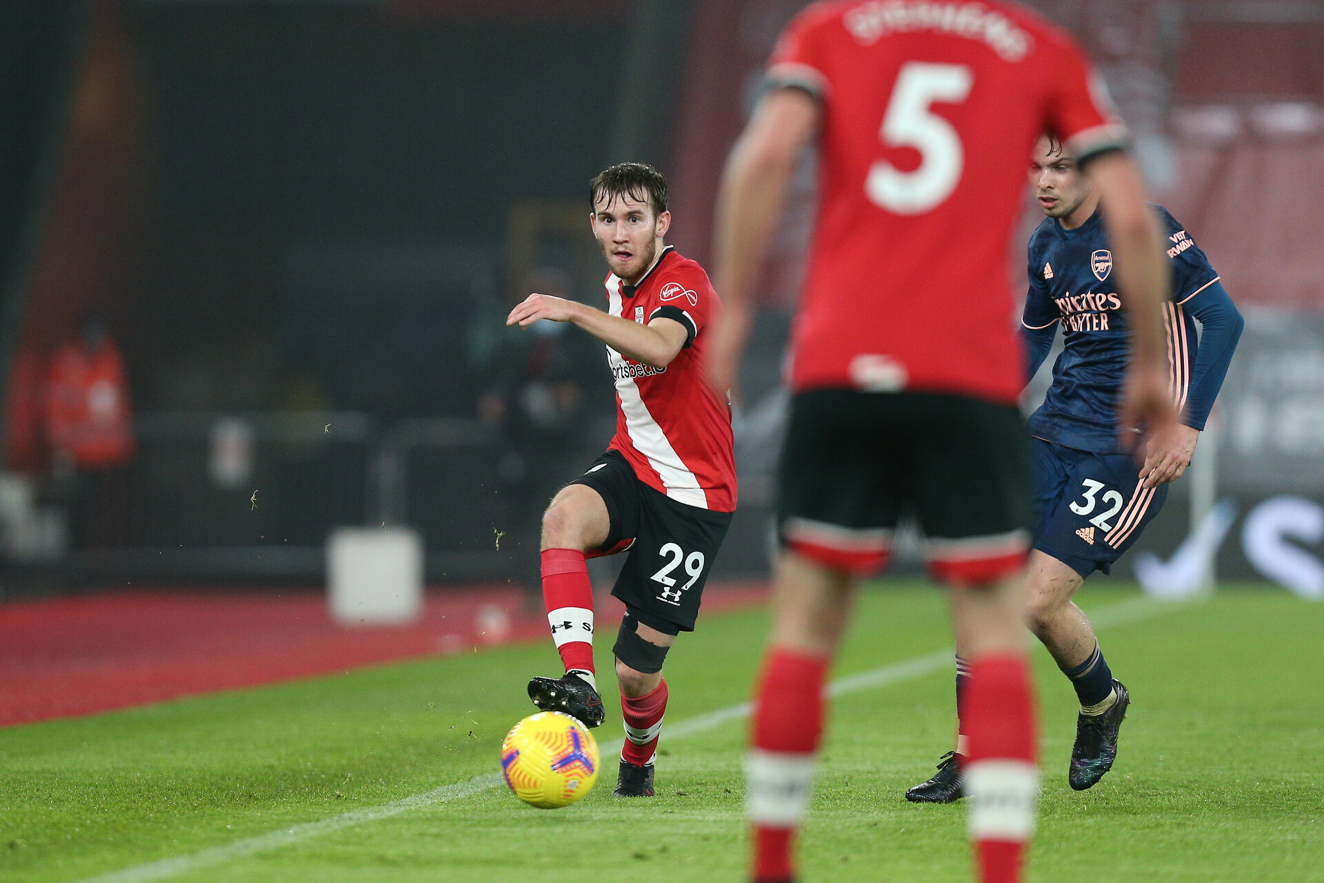 SOUTHAMPTON, ENGLAND - JANUARY 26: Jake Vokins of Southampton during the Premier League match between Southampton and Arsenal at St Mary's Stadium on January 26, 2021 in Southampton, England. Sporting stadiums around the UK remain under strict restrictions due to the Coronavirus Pandemic as Government social distancing laws prohibit fans inside venues resulting in games being played behind closed doors. (Photo by Matt Watson/Southampton FC via Getty Images)