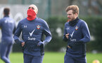 SOUTHAMPTON, ENGLAND - JANUARY 29: Oriol Romeu(L) and Stuart Armstrong during a Southampton FC training session at the Staplewood Campus on January 29, 2021 in Southampton, England. (Photo by Matt Watson/Southampton FC via Getty Images)
