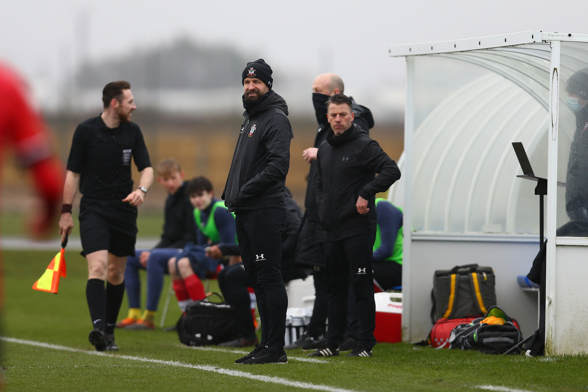 BRIGHTON, ENGLAND - FEBRUARY 16: Louis Carey Southampton U18s assistant coach during the Premier League U18s match between Brighton & Hove Albion and Southampton U18 at The Amex Elite Football Performance Center on February 16, 2021 in Brighton, England. (Photo by Isabelle Field/Southamtpon FC)