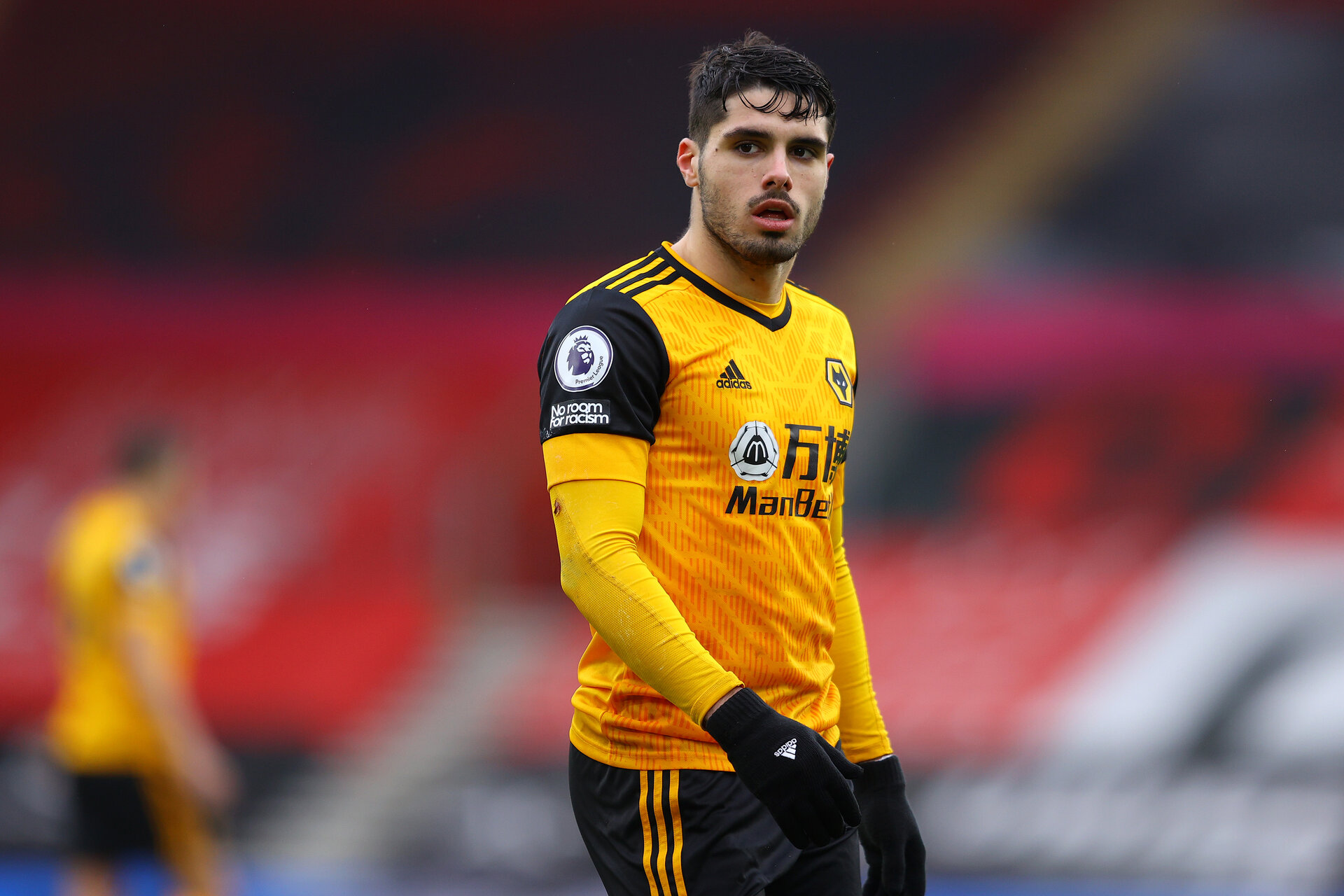 SOUTHAMPTON, ENGLAND - FEBRUARY 14: Pedro Neto of Wolves in action during the Premier League match between Southampton and Wolverhampton Wanderers at St Mary's Stadium on February 14, 2021 in Southampton, England. Sporting stadiums around the UK remain under strict restrictions due to the Coronavirus Pandemic as Government social distancing laws prohibit fans inside venues resulting in games being played behind closed doors. (Photo by Richard Heathcote/Getty Images)