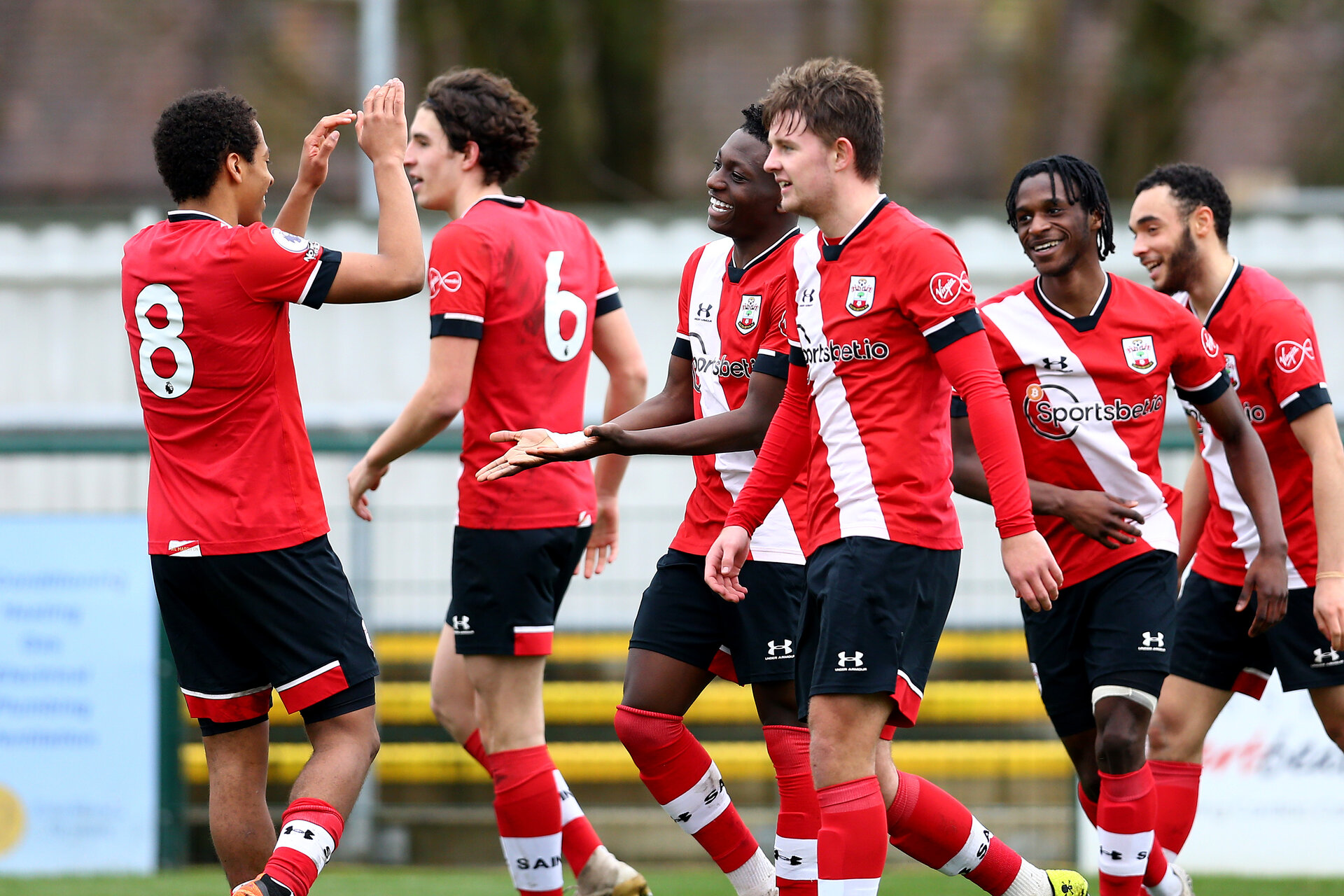 SOUTHAMPTON, ENGLAND - FEBRUARY 21: Kazeem Olaigbe celebrates opening the scoring with his team mates during Premier League 2 match between Southampton B Team and Derby County U23s at The Snows Stadium on February 21, 2021 in Southampton, England. (Photo by Isabelle Field/Southampton FC via Getty Images)