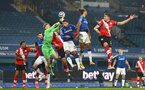 LIVERPOOL, ENGLAND - MARCH 01: Jan Bednarek (R) of Southampton header during the Premier League match between Everton and Southampton at Goodison Park on March 01, 2021 in Liverpool, England. Sporting stadiums around the UK remain under strict restrictions due to the Coronavirus Pandemic as Government social distancing laws prohibit fans inside venues resulting in games being played behind closed doors. (Photo by Matt Watson/Southampton FC via Getty Images)