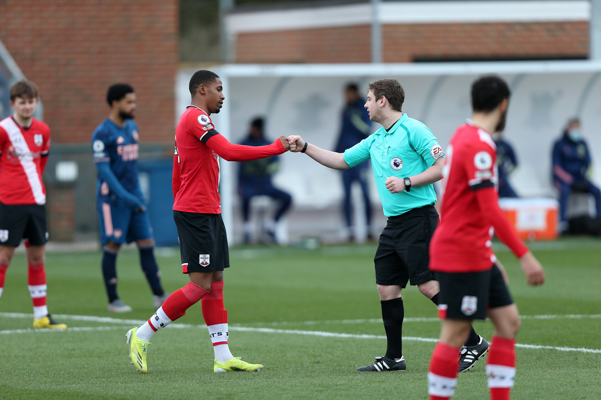 SOUTHAMPTON, ENGLAND - MARCH 06: during the Premier League 2 match between  Southampton B Team and Arsenal at Snows Stadium on March 06, 2021 in Southampton, England. (Photo by Chris Moorhouse/Southampton FC via Getty Images)