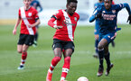 SOUTHAMPTON, ENGLAND - MARCH 06: Kazeem Olaigbe during the Premier League 2 match between  Southampton B Team and Arsenal at Snows Stadium on March 06, 2021 in Southampton, England. (Photo by Chris Moorhouse/Southampton FC via Getty Images)