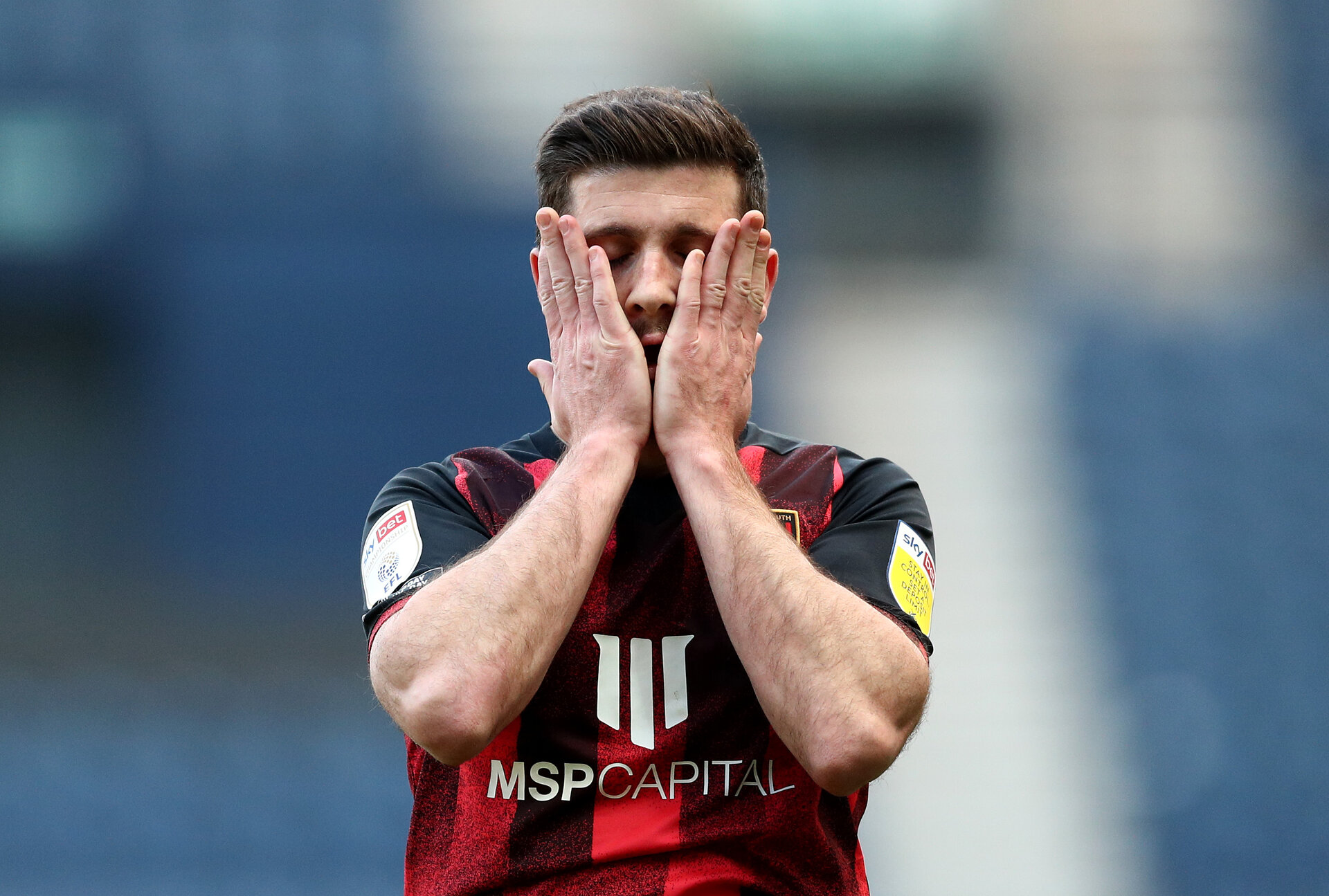 PRESTON, ENGLAND - MARCH 06: Shane Long of Bournemouth looks on dejected during the Sky Bet Championship match between Preston North End and AFC Bournemouth at Deepdale on March 06, 2021 in Preston, England. Sporting stadiums around the UK remain under strict restrictions due to the Coronavirus Pandemic as Government social distancing laws prohibit fans inside venues resulting in games being played behind closed doors. (Photo by Jan Kruger/Getty Images)