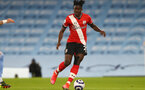 MANCHESTER, ENGLAND - MARCH 10: Mohammed Salisu of Southampton during the Premier League match between Manchester City and Southampton at Etihad Stadium on March 10, 2021 in Manchester, England. Sporting stadiums around the UK remain under strict restrictions due to the Coronavirus Pandemic as Government social distancing laws prohibit fans inside venues resulting in games being played behind closed doors. (Photo by Matt Watson/Southampton FC via Getty Images)