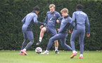 SOUTHAMPTON, ENGLAND - MARCH 12: James Ward-Prowse(centre) and Stuart Armstrong during a Southampton FC training session at the Staplewood Campu on March 12, 2021 in Southampton, England. (Photo by Matt Watson/Southampton FC via Getty Images)