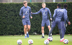 SOUTHAMPTON, ENGLAND - MARCH 12: Jannik Vestergaard(L) and James Ward-Prowse during a Southampton FC training session at the Staplewood Campu on March 12, 2021 in Southampton, England. (Photo by Matt Watson/Southampton FC via Getty Images)