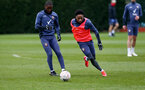 SOUTHAMPTON, ENGLAND - MARCH 17: Ibrahima Diallo(L) and Kyle Walker-Peters during a Southampton FC training session at Staplewood Campus on March 17, 2021 in Southampton, England. (Photo by Matt Watson/Southampton FC via Getty Images)