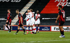 BOURNEMOUTH, ENGLAND - MARCH 20: Nathan Redmond of Southampton celebrates after scoring his second goal of the game to make it 3-0 during the Emirates FA Cup Quarter Final match between AFC Bournemouth and Southampton at the Vitality Stadium on March 20, 2021 in Bournemouth, England. (Photo by Matt Watson/Southampton FC via Getty Images)