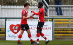 SOUTHAMPTON, ENGLAND - MARCH 21: Luke Pearce (L) of Southampton celebrates scoring with Alex Janekewitz (R) of Southampton during the Premier League 2 match between Southampton B Team and Liverpool at the Snows Stadium on March 21, 2021 in Southampton, England.  (Photo by Isabelle Field/Southampton FC via Getty Images)