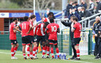 SOUTHAMPTON, ENGLAND - MARCH 21: Southampton players taking a drink during a break in play during the Premier League 2 match between Southampton B Team and Liverpool at the Snows Stadium on March 21, 2021 in Southampton, England.  (Photo by Isabelle Field/Southampton FC via Getty Images)