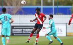 SOUTHAMPTON, ENGLAND - MARCH 21: Allan Tchaptchet of Southampton during the Premier League 2 match between Southampton B Team and Liverpool at the Snows Stadium on March 21, 2021 in Southampton, England.  (Photo by Isabelle Field/Southampton FC via Getty Images)