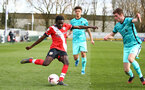 SOUTHAMPTON, ENGLAND - MARCH 21: Lucas Defise (L) of Southampton during the Premier League 2 match between Southampton B Team and Liverpool at the Snows Stadium on March 21, 2021 in Southampton, England.  (Photo by Isabelle Field/Southampton FC via Getty Images)
