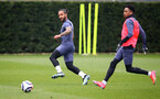 SOUTHAMPTON, ENGLAND - MARCH 24: Theo Walcott(L) and Kyle Walker-Peters during a Southampton FC training session at the Staplewood Campus on March 24, 2021 in Southampton, England. (Photo by Matt Watson/Southampton FC via Getty Images)