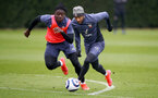 SOUTHAMPTON, ENGLAND - MARCH 24: Mohammed Salisu(L) and Nathan Redmond during a Southampton FC training session at the Staplewood Campus on March 24, 2021 in Southampton, England. (Photo by Matt Watson/Southampton FC via Getty Images)