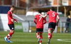 SOUTHAMPTON, ENGLAND - MARCH 27: Jayden Smith celebrates scoring with team mates  during the Premier League U18s match between Southampton U18 and  Chelsea at Snows Stadium on March 27, 2021 in Southampton, England. (Photo by Isabelle Field/Southamtpon FC)