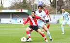 SOUTHAMPTON, ENGLAND - MARCH 27: Jayden Smith (L) of Southampton during the Premier League U18s match between Southampton U18 and  Chelsea at Snows Stadium on March 27, 2021 in Southampton, England. (Photo by Isabelle Field/Southamtpon FC)