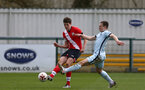SOUTHAMPTON, ENGLAND - MARCH 27: Will Tizzard (L) of Southampton during the Premier League U18s match between Southampton U18 and  Chelsea at Snows Stadium on March 27, 2021 in Southampton, England. (Photo by Isabelle Field/Southamtpon FC)