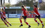 SOUTHAMPTON, ENGLAND - APRIL 04: Lucia Kendall (center)  of Southampton celebrates opening the scoring with team mates during the Vitality Women's FA Cup second round match between Southampton Women and Plymouth Argyle Women at The Snows Stadium on April 04, 2021 in Southampton, England. (Photo by Isabelle Field/Southampton FC via Getty Images)