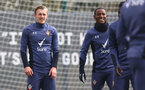 SOUTHAMPTON, ENGLAND - APRIL 08: James Ward-Prowse(L) and Ibrahima Diallo during a Southampton FC training session at the Staplewood Campus on April 08, 2021 in Southampton, England. (Photo by Matt Watson/Southampton FC via Getty Images)