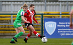 SOUTHAMPTON, ENGLAND - APRIL 11: Georgie Freeland (R) of Southampton during the Vitality Women's FA Cup third round match between Southampton Women and Yeovil United Women at The Snows Stadium on April 11, 2021 in Southampton, England. (Photo by Isabelle Field/Southampton FC via Getty Images)