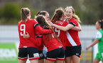 SOUTHAMPTON, ENGLAND - APRIL 11: Southampton players celebrate going 2-0 up during the Vitality Women's FA Cup third round match between Southampton Women and Yeovil United Women at The Snows Stadium on April 11, 2021 in Southampton, England. (Photo by Isabelle Field/Southampton FC via Getty Images)