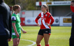 SOUTHAMPTON, ENGLAND - APRIL 11: Cattlin Morris (R) of Southampton during the Vitality Women's FA Cup third round match between Southampton Women and Yeovil United Women at The Snows Stadium on April 11, 2021 in Southampton, England. (Photo by Isabelle Field/Southampton FC via Getty Images)