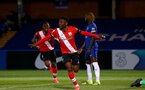 KINGSTON UPON THAMES, LONDON, ENGLAND - APRIL 12: Kazeem Olaigbe of Southampton goal celebration during the Premier League 2 match between U23 Chelsea FC and Southampton B Team at the Kingsmeadow Stadium on April 12, 2021 in Kingston upon Thames, London, England.  (Photo by Isabelle Field/Southampton FC via Getty Images)